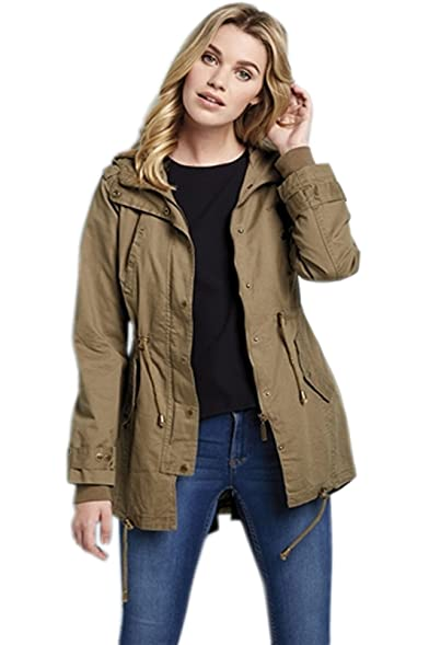 LADIES WOMENS SUMMER FESTIVAL PARKA JACKET MILITARY HOODED COAT ...