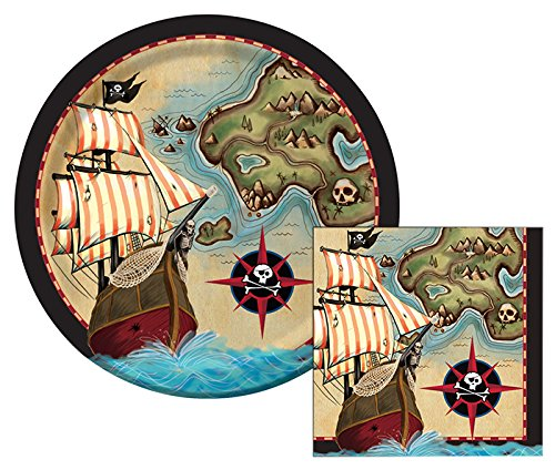 Pirate's Map Lunch Napkins & Dinner Plates Party Kit for 8