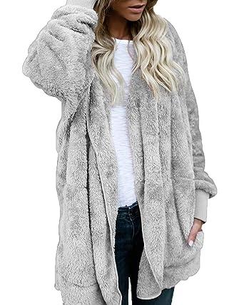 Amazon.com  Adogirl Women Open Front Hooded Draped with Pockets Fuzzy  Fleece Cardigan Coat  Clothing 9b4bdd0f8