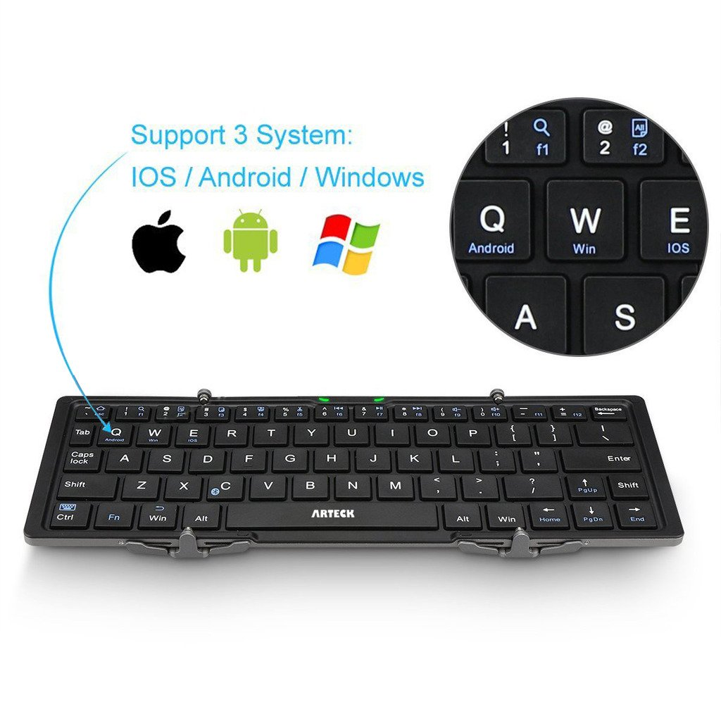 Folding Bluetooth Keyboard, Arteck Portable Folding Bluetooth Keyboard Mini Wireless Keyboard for iOS iPad Air, iPad Mini, Android, MacOS, Windows Tablets Smartphone Built in Rechargeable Battery by Arteck (Image #3)
