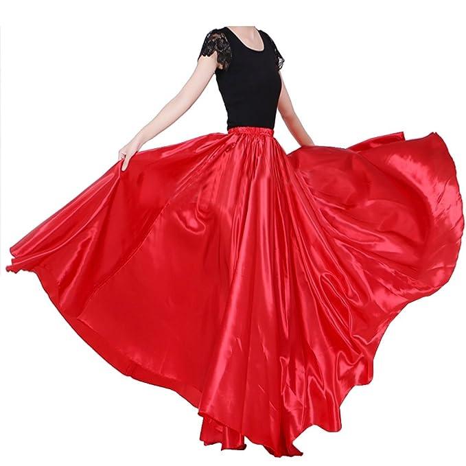 207e38dd5f Backgarden Women's 20 Yard Floor Length Circle Satin Skirt Party ...