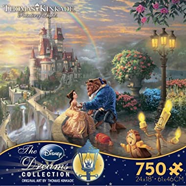 Thomas Kinkade The Disney Dreams Collection: Beauty and The Beast Falling in Love Puzzle, 750 Pieces, 24  X 18