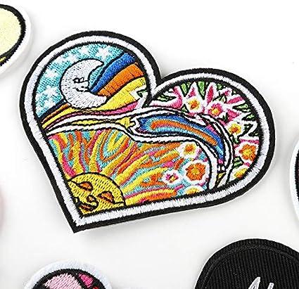 Pegatinas de Tela Bordadas Parche en Forma de coraz/ón Dedo Amor Accesorios de joyer/ía Parche Bordado Accesorios de Ropa Size 3.2 Dosige 5.5CM D