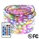 Dimmable LED String Lights,ER CHEN(TM) 66Ft 200 LEDs Silver Wire Starry ...