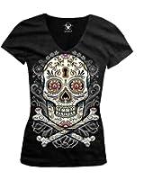 Floral Skull Ladies Junior Fit V-neck T-shirt, Liquid Blue Dia De Muertos Floral Sugar Skull Design Junior's V-Neck Tee (Black)
