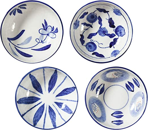 Beautyflier Set of 4 Ceramic Sauce Dish Soy Sauce Dipping Bowls Appetizer Plates Side Dishes Serving Dish Japanese Style Dinnerware Set Leaf/&Flower 3.5inch