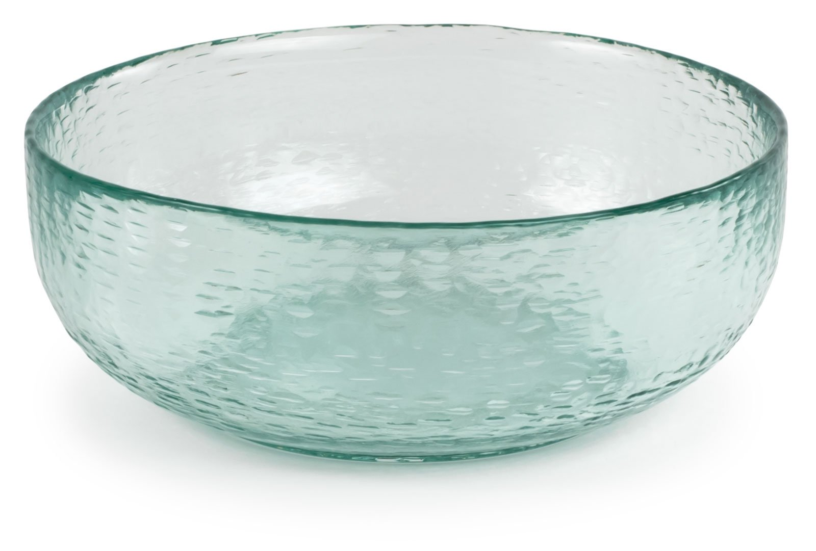 Spanish 100% Recycled Glass Small Incised Salsa Bowl, Set of 2 - 6.75''Dx2.5''H