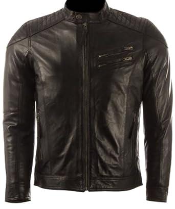 classyak Herren Fashion Schwarz Gepolsterte Schultern Top Qualität Jacke  Gr. X-Small, Cow