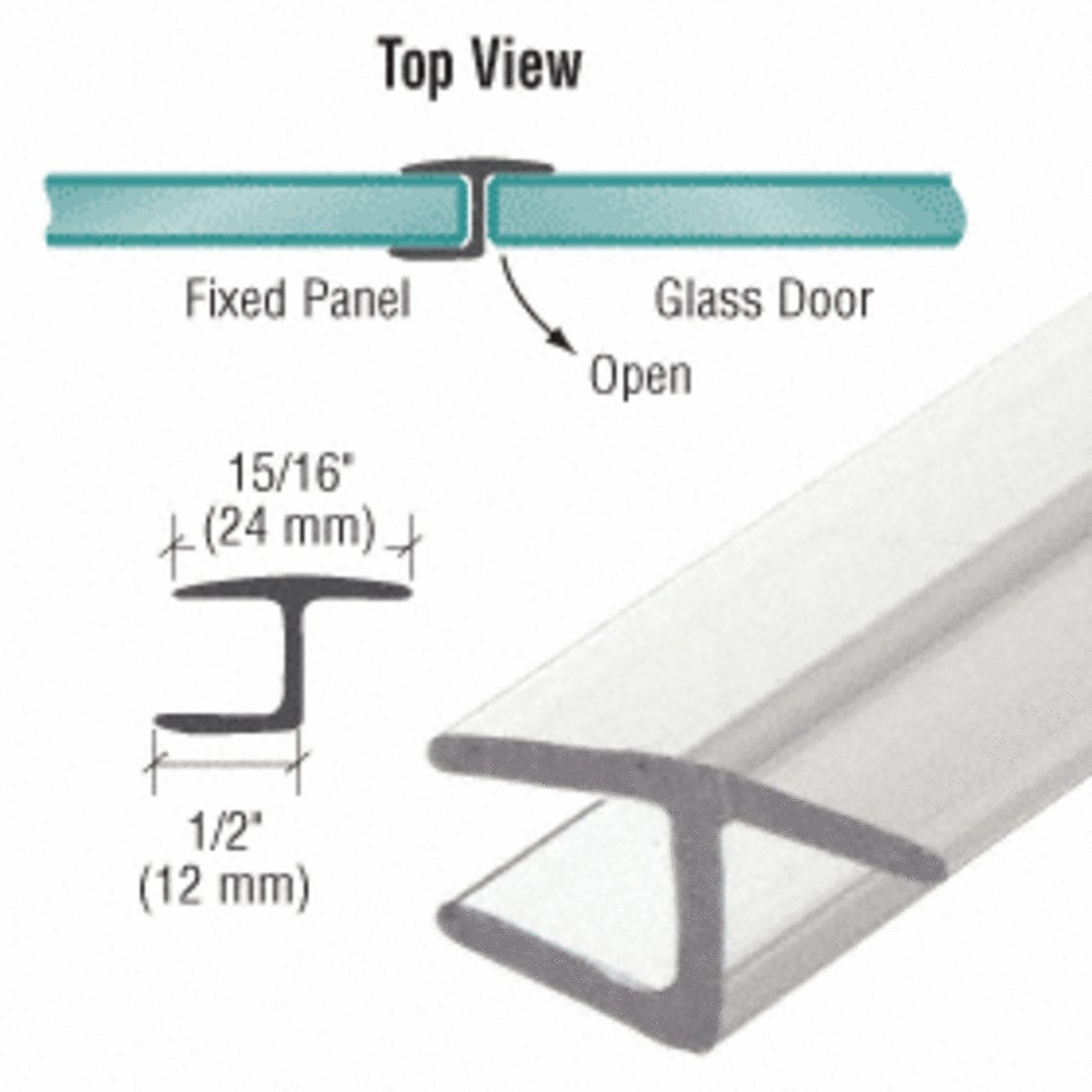 CRL Polycarbonate''h'' Jamb with Hard Leg for 180 Degree and 3/8'' Glass - 98 in long
