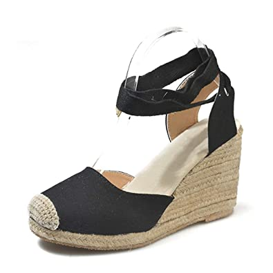 a16a3b1c0ba Women's Espadrille Tie Up Wedge Heel Sandals Platform High Heel Shoes