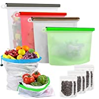 Reusable Storage Bags Silicone Food,Produce Storage Bags,Stand Up Food Bags Set, HOOMALL Zip Lock, Sandwich Lunch, Fruit, Freezer Airtight Seal (Colorful, 14-Pack: 8x Snack, 2x Fruit, 4x Storage Bags)