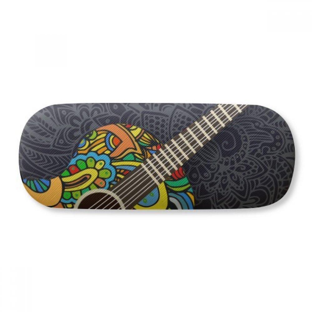 Guitar Music Instrument Pattern Design Glasses Case Eyeglasses Clam Shell Holder Storage Box