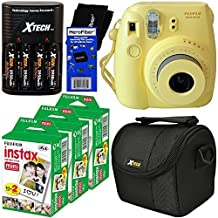 Fujifilm Instax Mini 8 Instant Film Camera (Yellow) + Fujifilm Instax Mini Instant Film (60 sheets) + 4 AA High Capacity Rechargeable Batteries with Battery Charger + Well Padded Camera Case + HeroFiber Ultra Gentle Cleaning Cloth