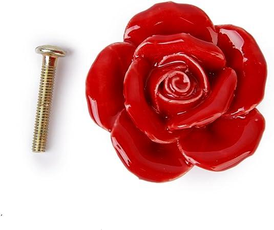 Rosa Fiore Porta Pomello in Ceramica Com/ò Armadio Cucina Armadio Cassetto Maniglie 10 Pack Rosa