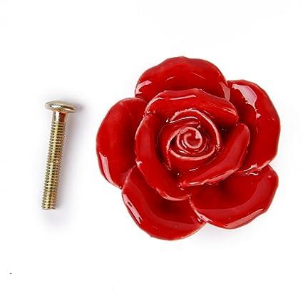 1x Pomelli Ceramica Forma Fiore Rosa Maniglie Per Mobili Armadio ...