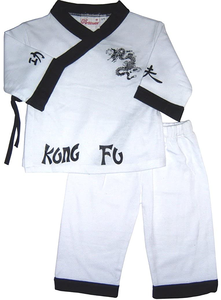 US Giftwear Boys Girls Kungfu Fighter Set Long Shorts Karate Size:4-6x7