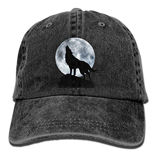 Dogquxio The Wolf Is Howling Under The Full Moon Denim Baseball Caps Hat Adjustable Cotton Sport Strap Cap For Men Women - Cap Tom Ford