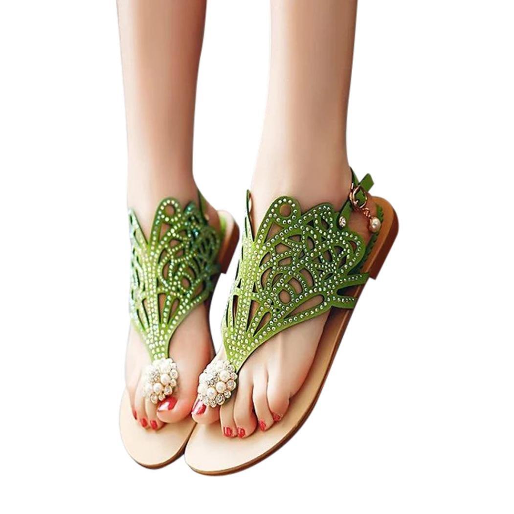 Ouneed- Damen Sandalen, Damen Sommer Vintage Frauen Strass Flache Ferse Anti Skidding Strand Schuhe Rom Flats Sandalen Slipper Zehentrenner37|Gr眉n