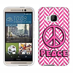 HTC One M9 Case, Snap On Cover by Trek Peace on Chevron Mini Pink White Case