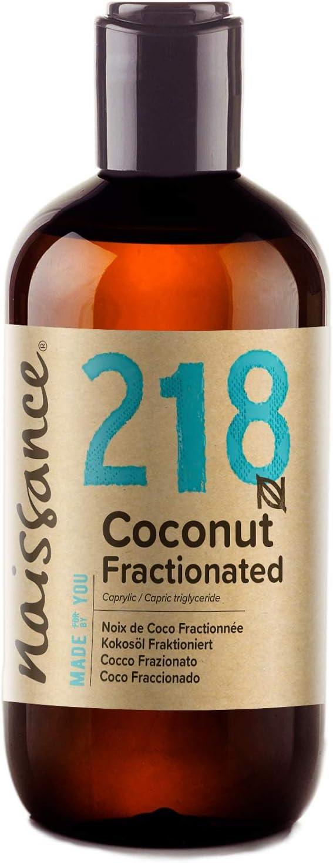 Naissance Aceite Vegetal de Coco Fraccionado n. º 218 – 250ml - Puro, natural, vegano, sin hexano, no OGM - Ideal para aromaterapia, masajes y recetas artesanales.