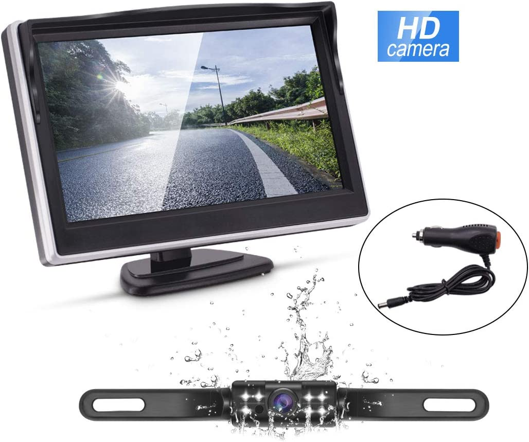 SUV Wireless Backup Camera Kit,IP68 Waterproof License Plate Reverse Rear View Back Up Car Camera,4.3 TFT LCD Rear View Monitor for Cars RVs Accfly M