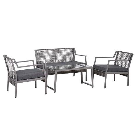 Outsunny - Juego de muebles de exterior para sofá y sillones ...