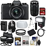 Fujifilm X-T100 Digital Camera & 15-45mm XC OIS PZ (Black) & 50-230mm Lens + 64GB Card + Battery + Charger + Flash + Backpack + 2 Lens Kit