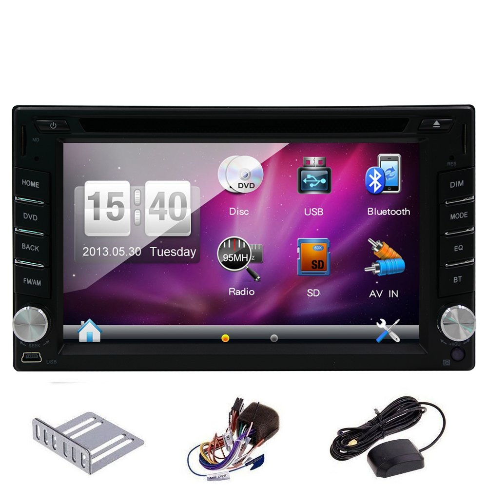 """Amazon.com: Pupug 6.2"""" Inch Double 2 Din in Dash GPS Navigation Car Stereo  Car DVD Player USB Sd Bluetooth Mp3 MP4 Radio Navigation Touch screen LCD  Monitor ..."""