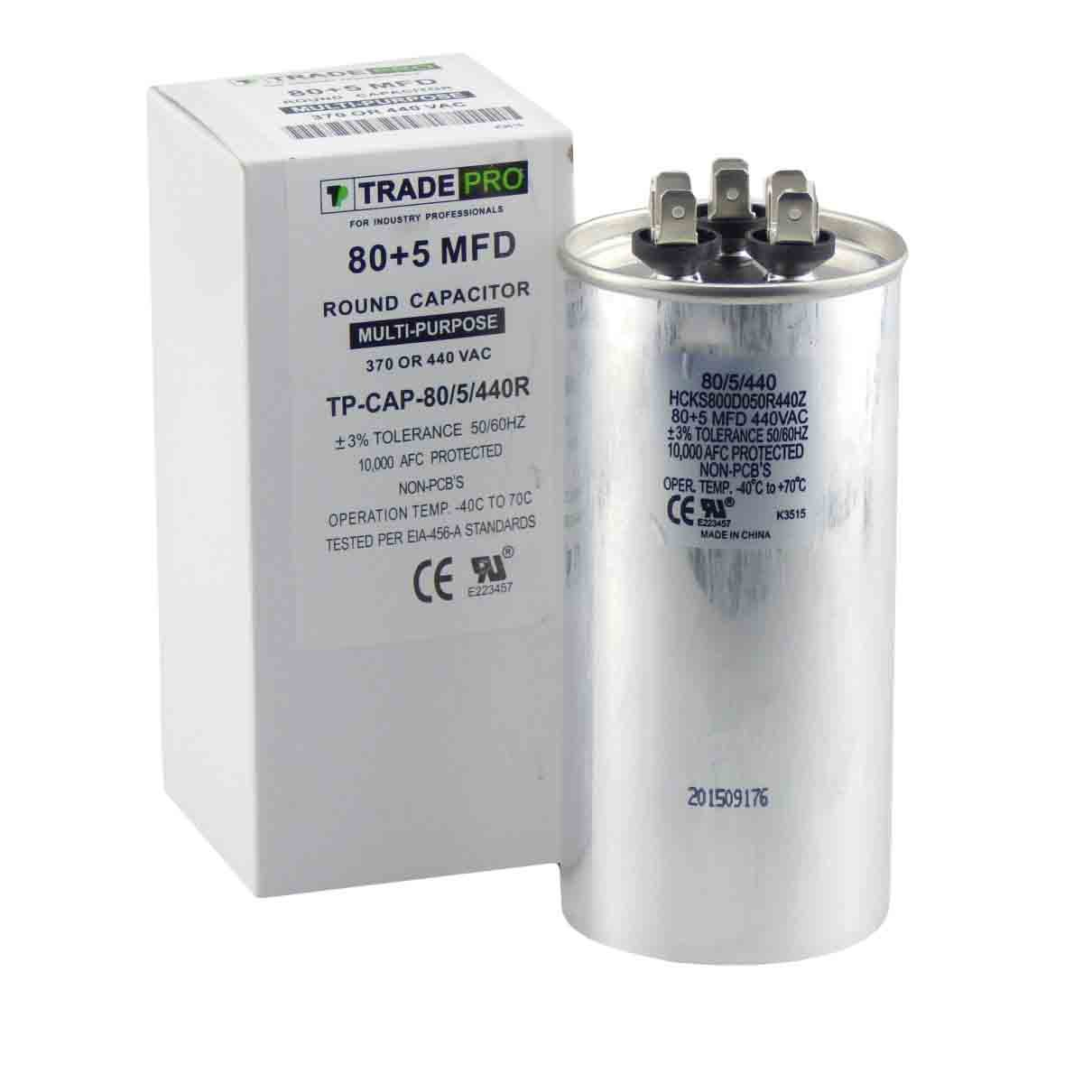 TradePro 80/5 MFD 440 or 370 Volt Round Run Capacitor Replacement 80+5