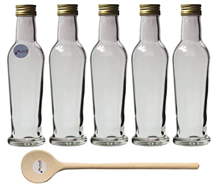 4 botellas de vidrio para cierre Plus 250 ml de porcelana para rellenar botellas de licor