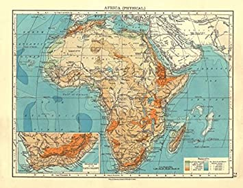 Afrika Physische Relief Ocean Tiefen Flusse Johnston 1906