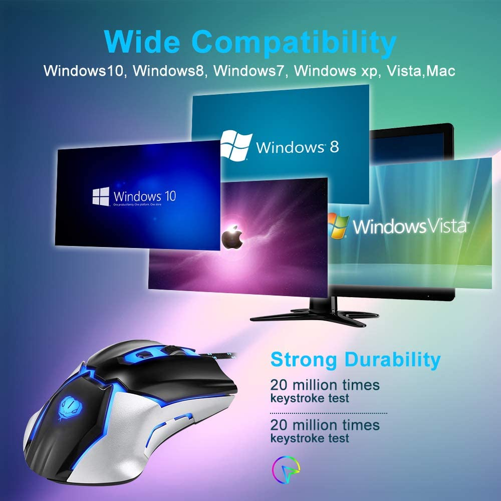 Gaming Ergonomic Game USB Computer Mice Gamer Desktop Laptop PC Gaming Mouse 3200 DPI Max Programmable Viwind Computer Mouse Wired 6 Buttons for Windows 7//8//10//XP Vista Linux,Mac Black
