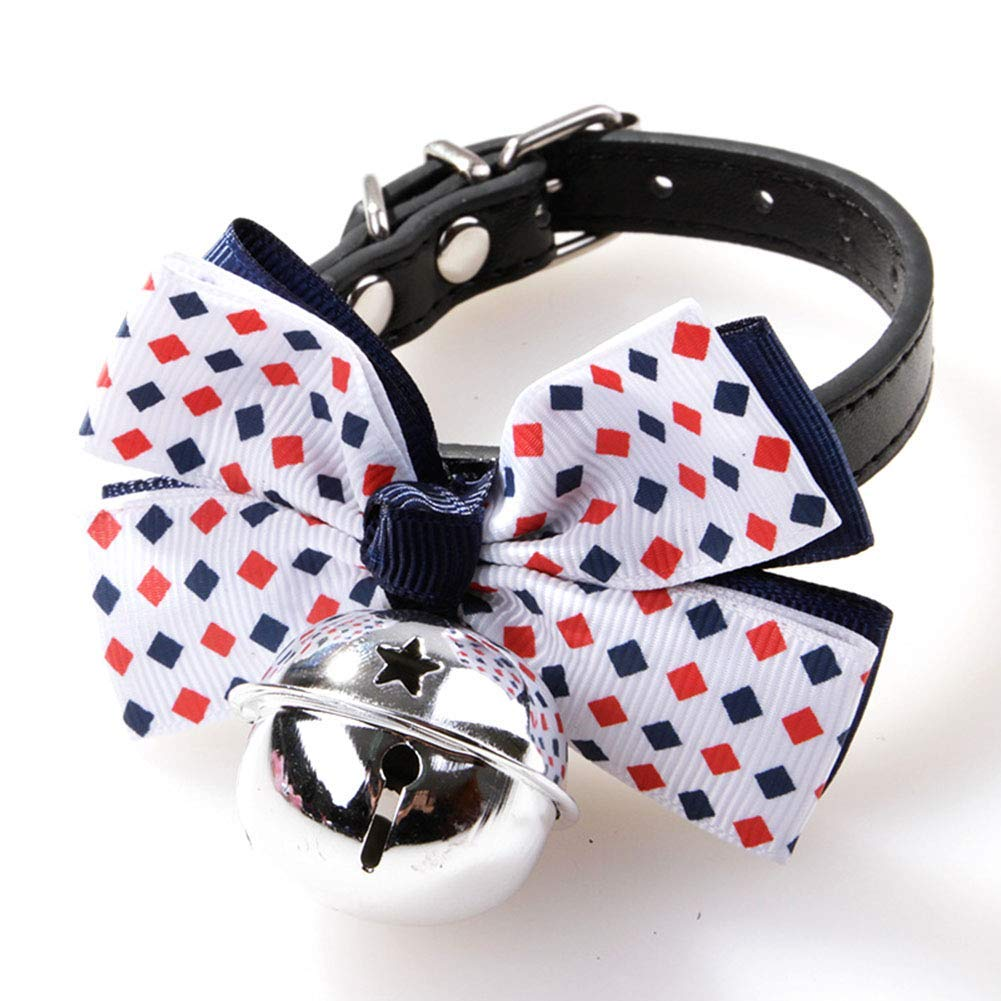 PET COLLAR HOME Adjustable Dog Collar Large Bow Pet Dog Tie Pet Cute Dots Bow Collars for Puppy Collar Grooming Accessories-S (Size   D)