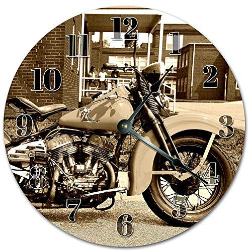 OSWALDO Vintage Harley Davidson Motorcycle Bike Clock Decorative Round Wooden Wall Clock - 12 inch