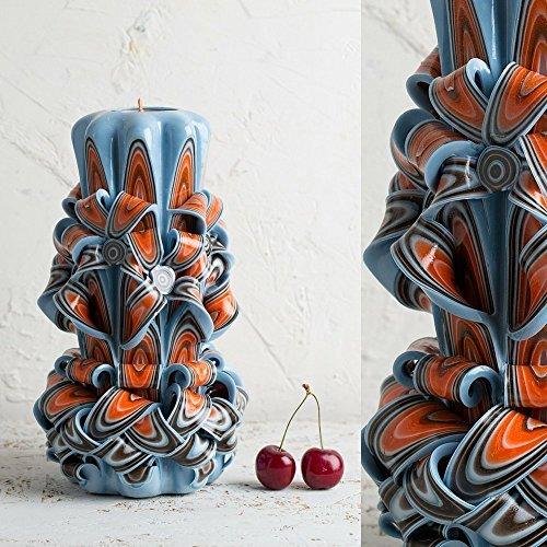 Luxury Hand Pored and Carved Pillar - Blue Sky Orange - Bath Spa - EveCandles (Luxury Votive)