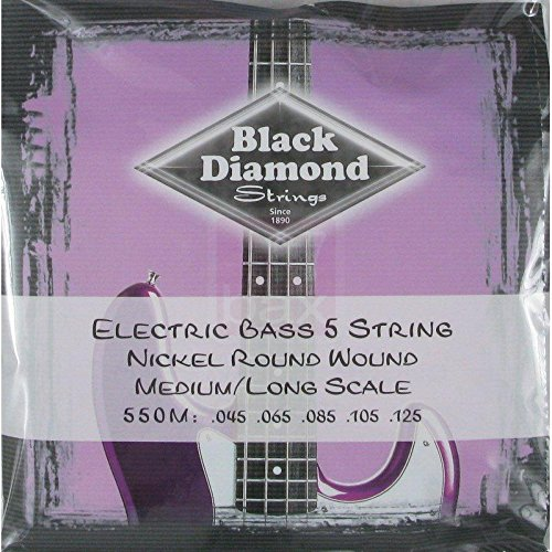 Long Scale Electric Bass (Black Diamond 550M Electric Bass 5 String Nickel Round Wound Medium/Long)