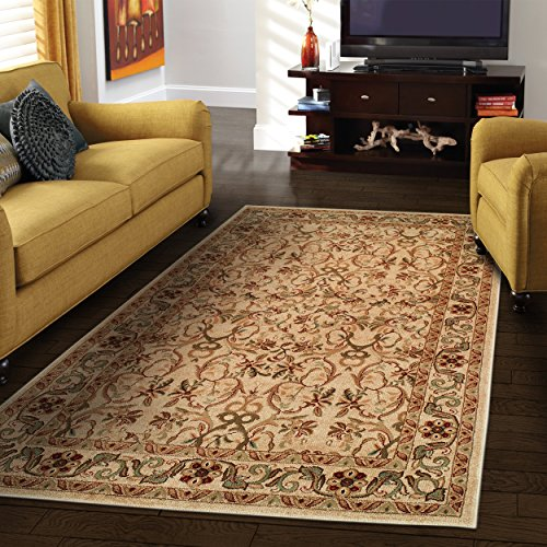 Superior Elegant Heritage Collection Area Rug, 10mm Pile Height with Jute Backing, Timeless and Beautiful Nature Design, Anti-Static, Water-Repellent Rugs - Ivory, 27 x 8 Runner