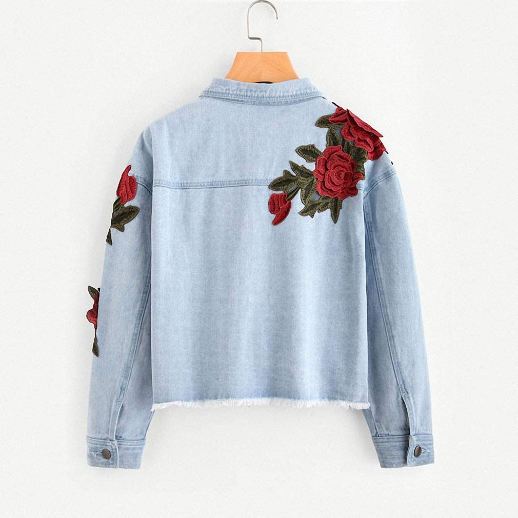 Hiuwa Womens Denim Jacket 3D Rose Patch Blue Lapel Jacket Embroidery Single Breasted