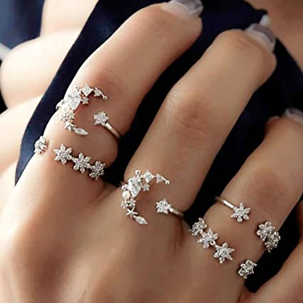 5756b92925b05 Hongxin 5Pcs/Set Moon Star Crystal Rings For Women Vintage Wedding Knuckle  Boho Flower Ring Bohemian Midi Finger Anillos Mujer Jewelry Creative Gift  ...
