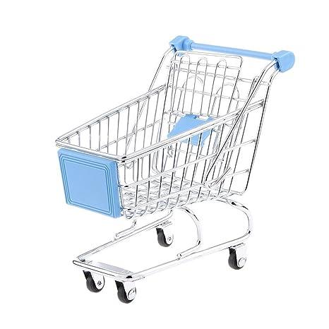 Jesica Mini carrito de la compra supermercado carrito de juguete (Celeste)