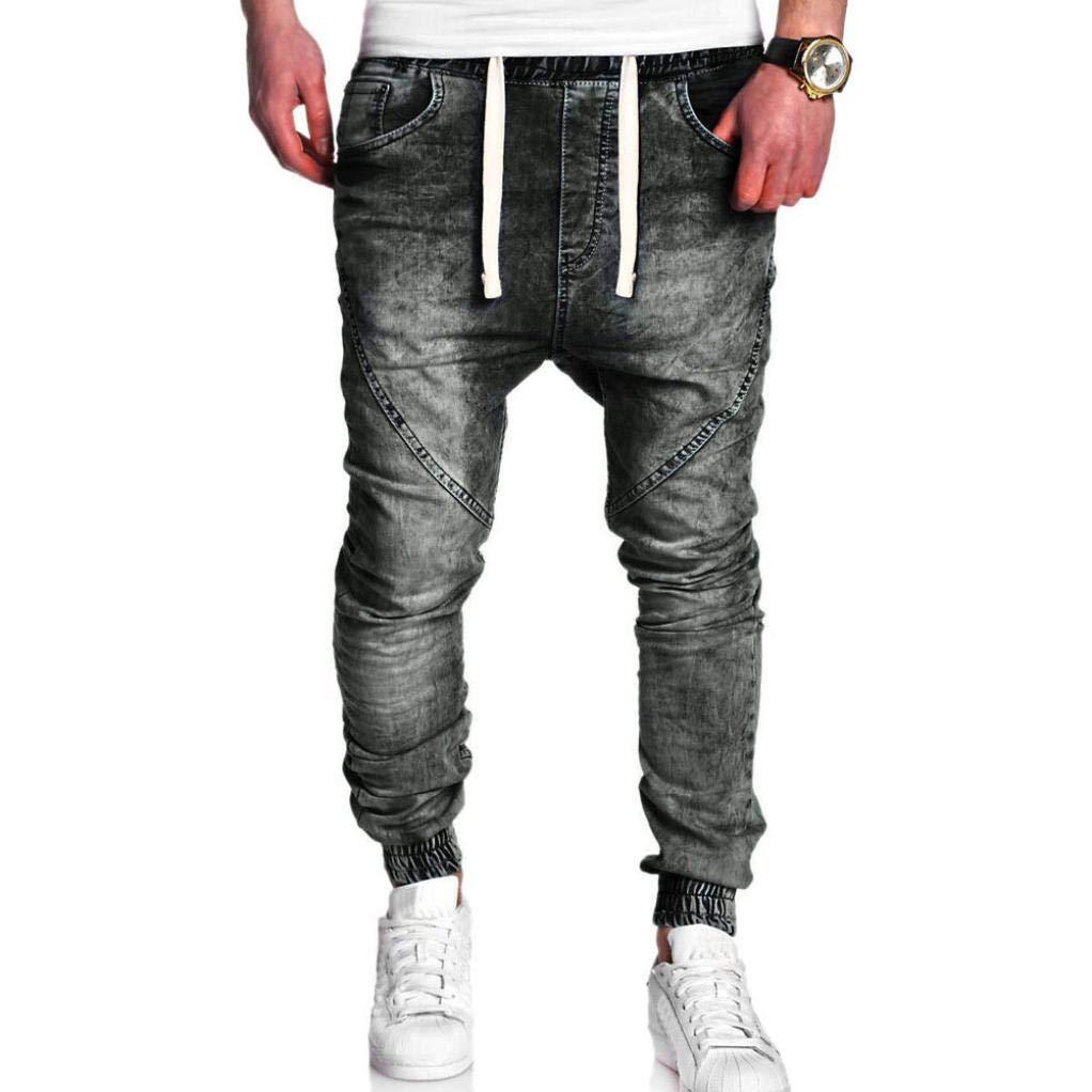 Herren Mode Casual Vintage Elastische Wash disgestresst Denim Schlanke Hose Jeans Schwarz