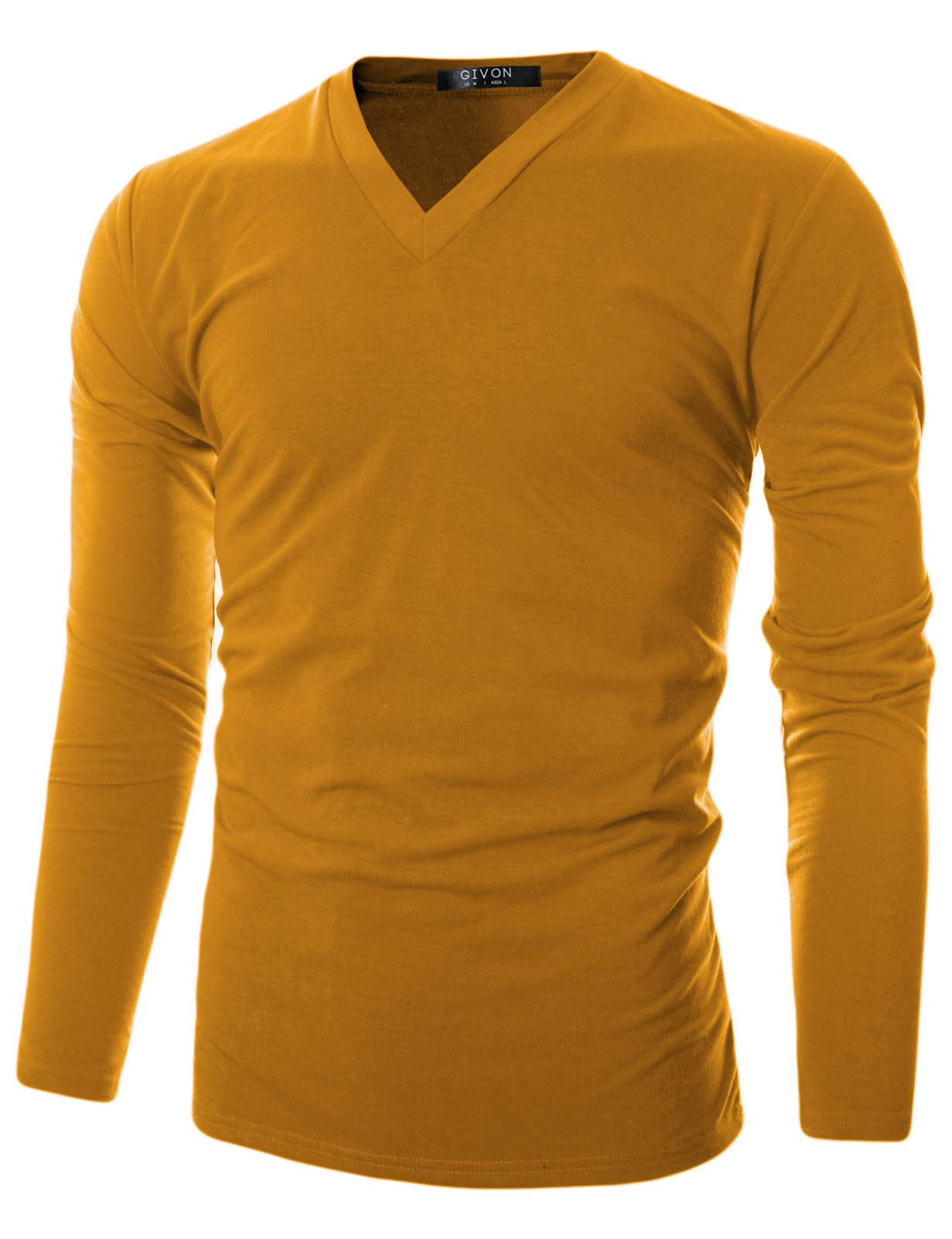 GIVON Mens Slim Fit Soft Cotton Long Sleeve Lightweight Thermal V-Neck T-Shirt/DCP043-MUSTARD-2XL by GIVON