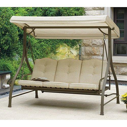 Mainstays Warner Heights Converting Outdoor Swing/hammock, Tan, Seats 3