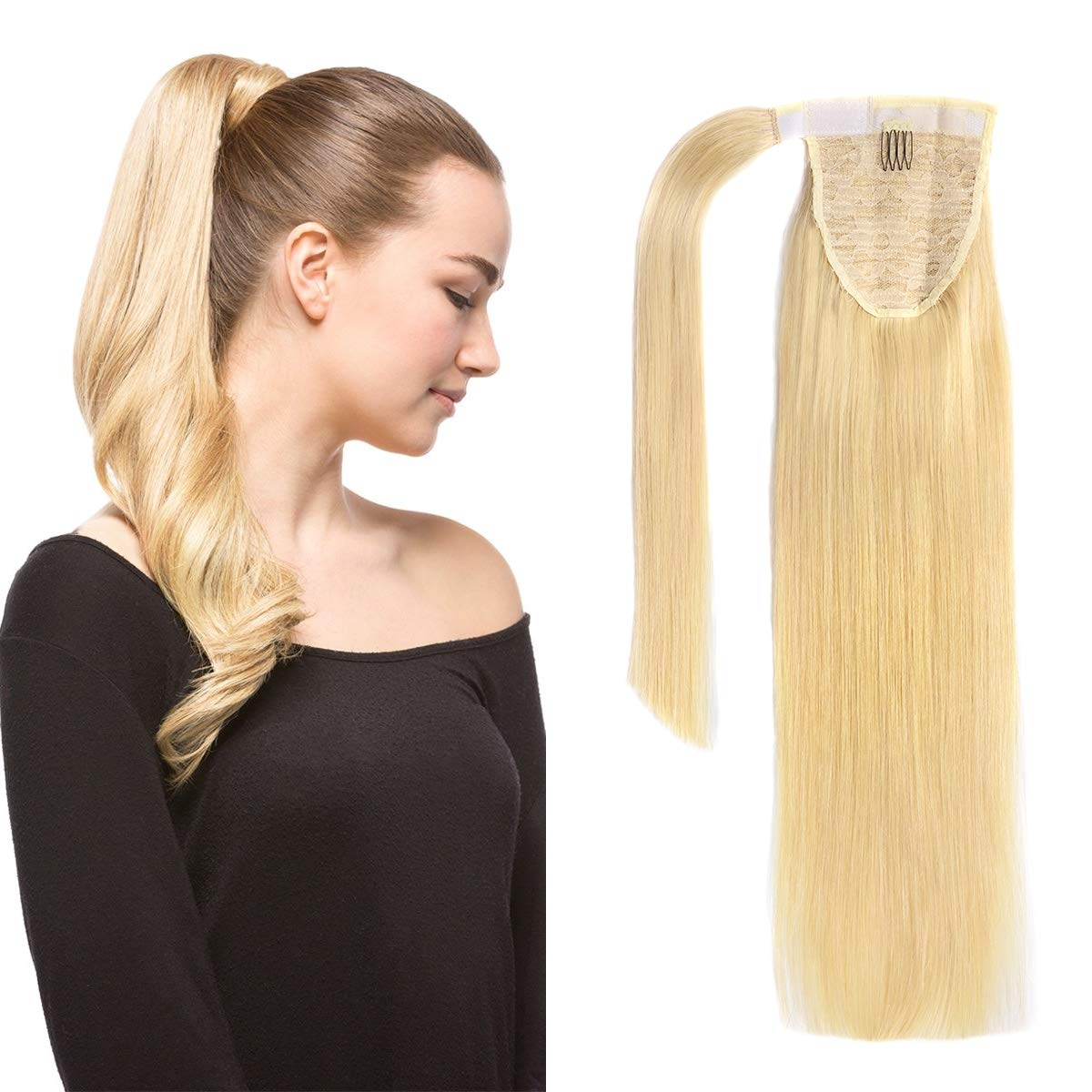 14 Inches Clip in Human Ponytail Hair Extensions Remy Human Hair Piece for Women 1 Piece Hairpiece 60 Grams Wrap Around Ponytail Human Hair Extensions Light Blonde Color by isheeny