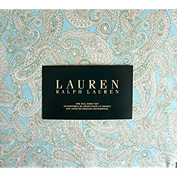 Lauren Ralph Lauren 4 Piece Full Sheet Set Cotton White and Olive Green Paisley Pattern on Azure Sky Blue Background