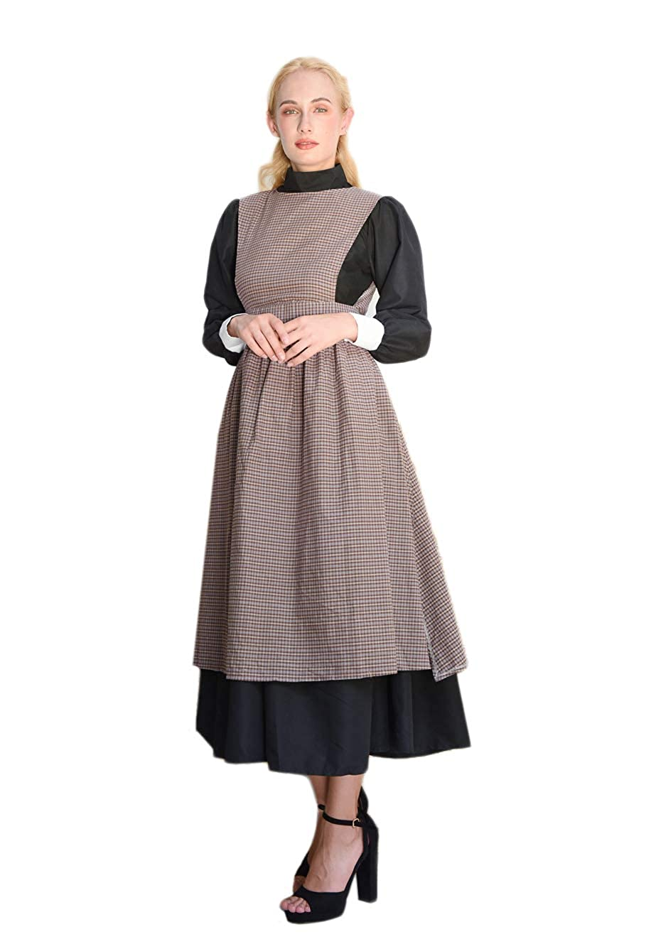 Victorian Dresses | Victorian Ballgowns | Victorian Clothing ROLECOS Womens Pioneer Costume Adult Black Pioneer Dress Prairie Colonial Dress Outfit $44.99 AT vintagedancer.com