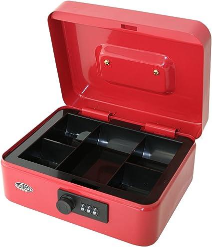 Caja para dinero de 8 pulgadas (20,3 cm) con cerradura de combinación y bandeja extraíble con 5 secciones para monedas (color rojo): Amazon.es: Oficina y papelería