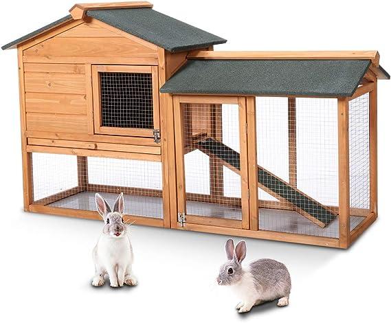 HeroAstoreZ - Casa de Dos Pisos para Mascotas al Aire Libre, Conejo, Refugio para Gato, Conejo, Conejo, Conejito con Techo Impermeable, 2 Puertas, Correr y Escalera, 147 x 53 x 85 cm: