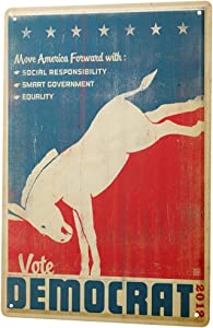 LEotiE SINCE 2004 Nostalgic Tin Sign Metal Plate Decorative Sign Home Decor Plaques Democrat Election Poster 2012 Horse 8X12
