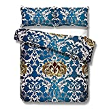 Kingtex Elegant Indigo Blue and Gold Baroque Floral Damasks Lace Duvet Cover Set 3 Pieces Chic White Gold Floral Swirl Quilt Cover Bedding Set (Queen)
